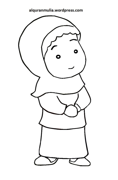 Mewarnai gambar kartun anak muslimah 92