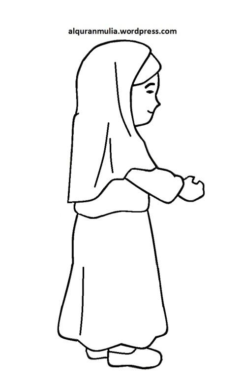 Mewarnai gambar kartun anak muslimah 93