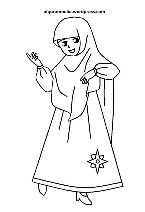 Mewarnai gambar kartun anak muslimah 95