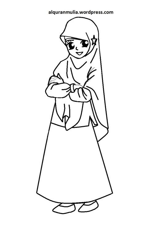 Mewarnai gambar kartun anak muslimah 96