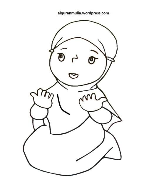 Mewarnai gambar kartun anak muslimah 97