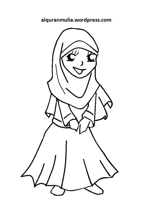 Mewarnai gambar kartun anak muslimah 98