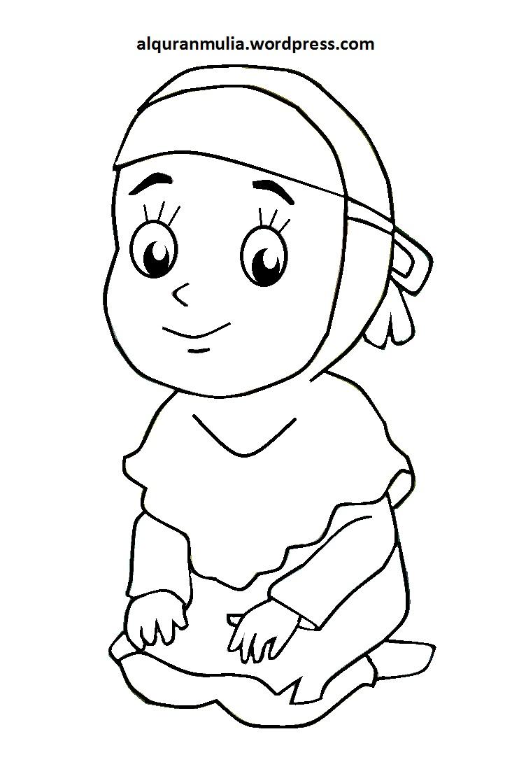 Mewarnai Gambar Kartun Anak Muslimah 99