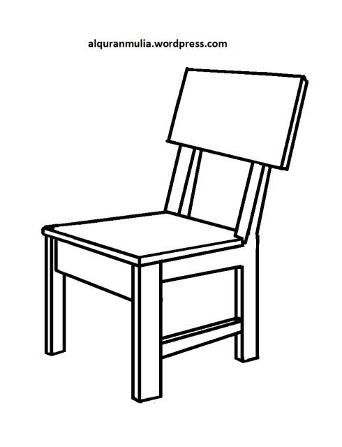 Mewarnai gambar kursi anak muslim