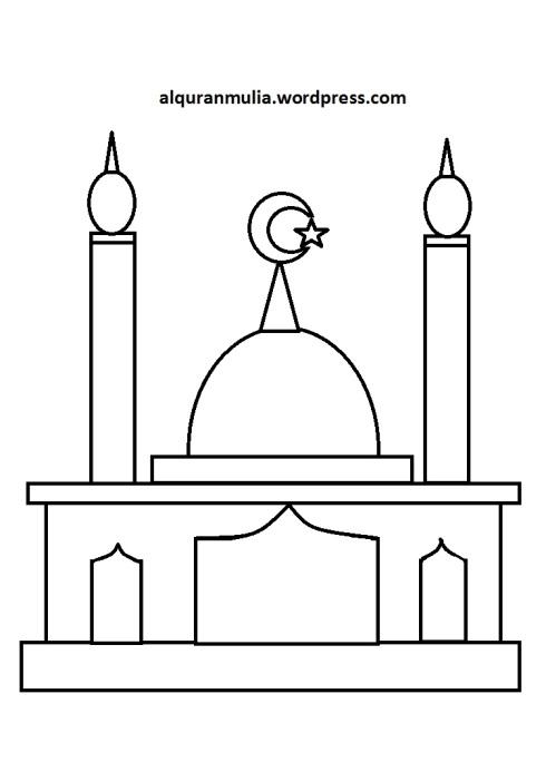 Mewarnai gambar masjid 13 anak muslim