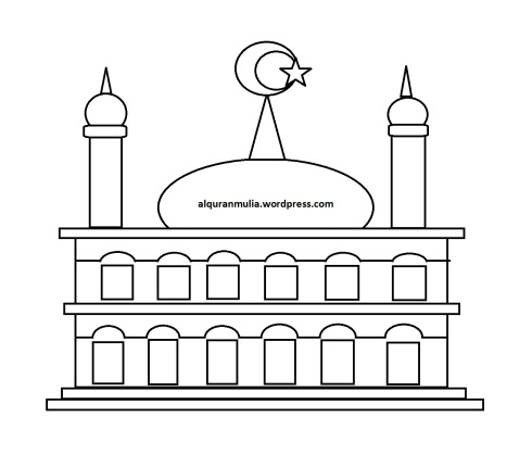 Mewarnai gambar masjid 14 anak muslim
