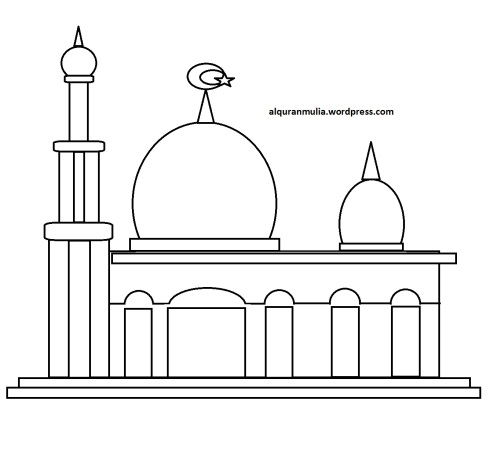 Mewarnai gambar masjid 15 anak muslim