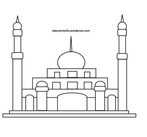 Mewarnai gambar masjid 16 anak muslim