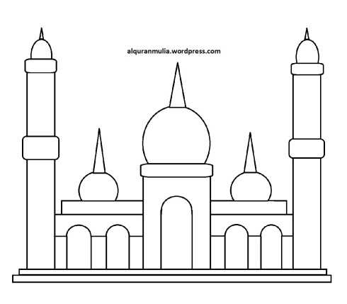 Mewarnai gambar masjid 17 anak muslim