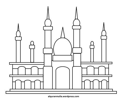 Mewarnai gambar masjid 18 anak muslim