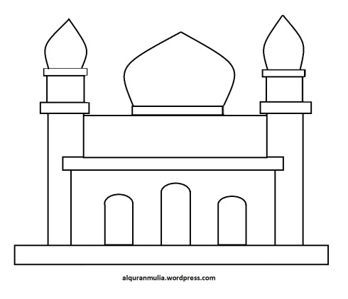 Mewarnai gambar masjid 19 anak muslim