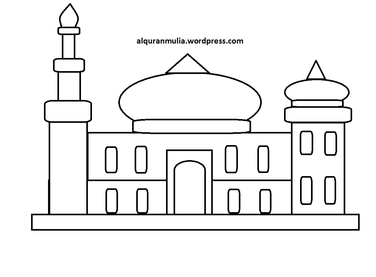 Mewarnai Gambar Masjid 20 Anak Muslim