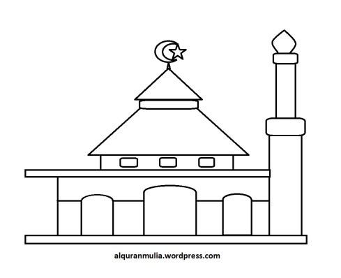 Mewarnai gambar masjid 21 anak muslim