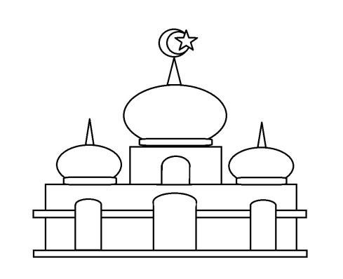 Mewarnai gambar masjid 22 anak muslim