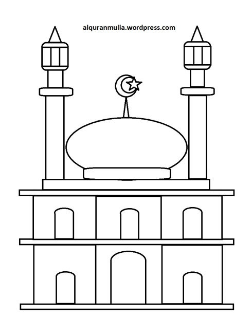 Mewarnai gambar masjid 23 anak muslim