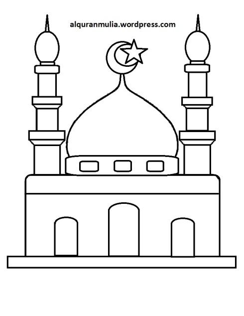 Mewarnai gambar masjid 24 anak muslim