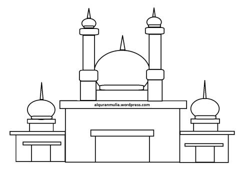 Mewarnai gambar masjid 25 anak muslim