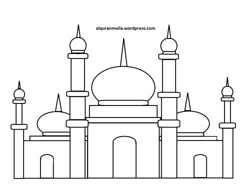 Mewarnai gambar masjid 26 anak muslim