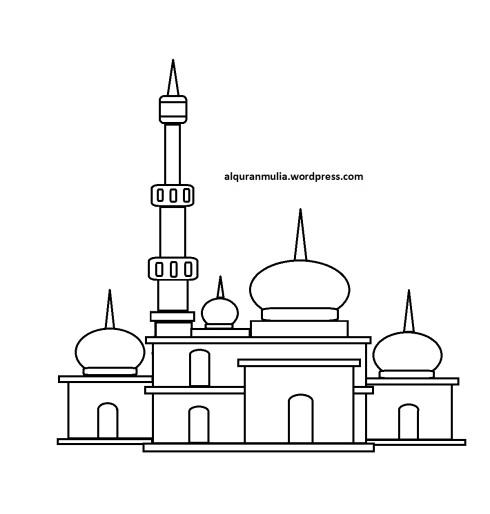 Mewarnai gambar masjid 27 anak muslim
