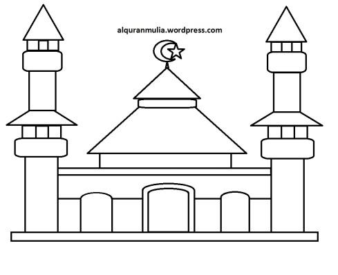 Mewarnai gambar masjid 28 anak muslim