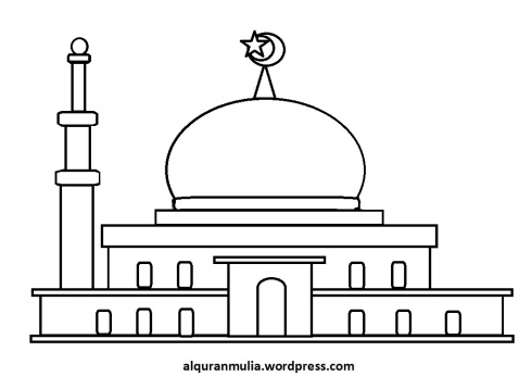 Mewarnai gambar masjid 29 anak muslim