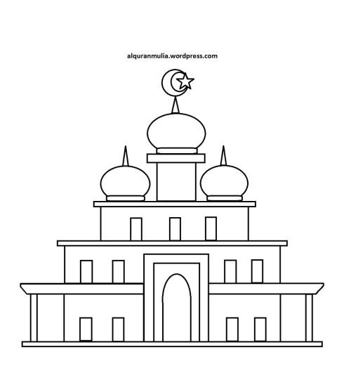 Mewarnai gambar masjid 30 anak muslim