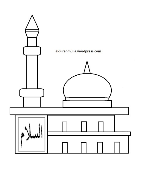 Mewarnai gambar masjid 31 anak muslim