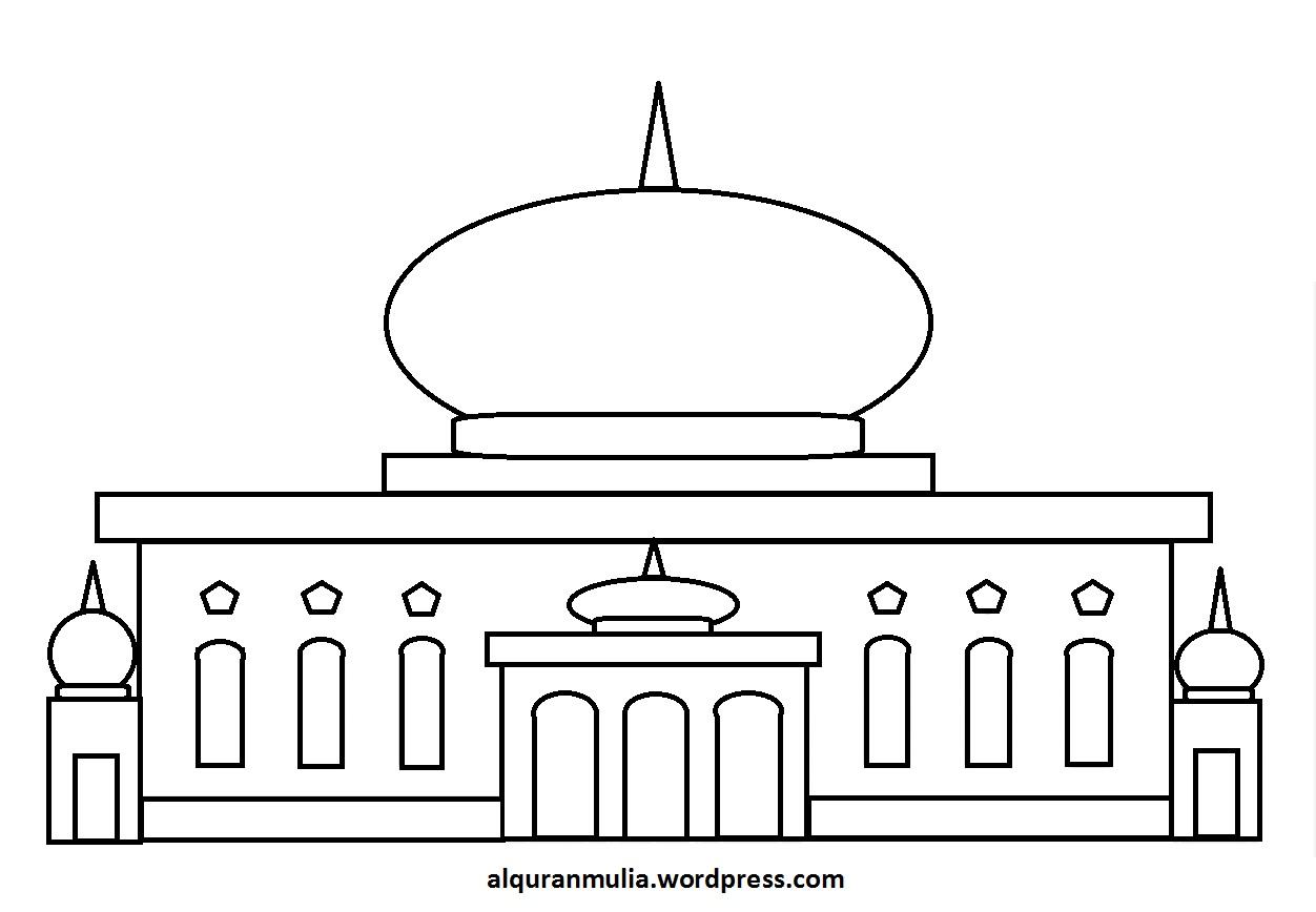 Mewarnai Gambar Masjid 32 Anak Muslim Alquranmulia