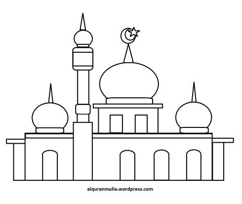 Mewarnai gambar masjid 33 anak muslim