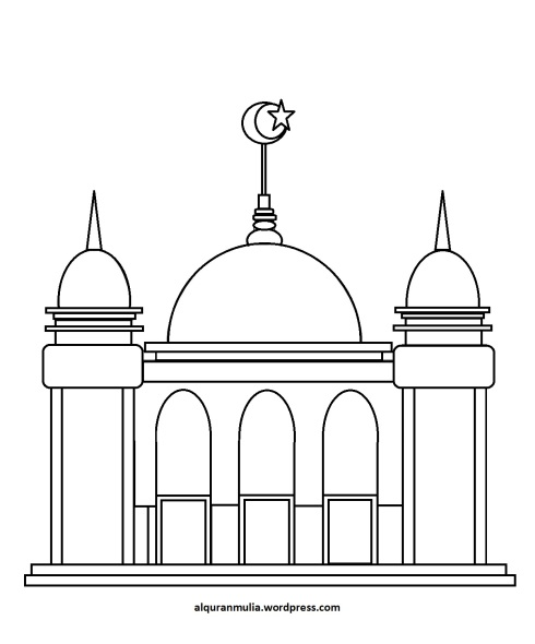 Mewarnai gambar masjid 34 anak muslim