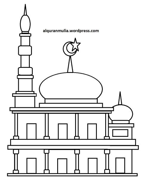 Mewarnai gambar masjid 35 anak muslim
