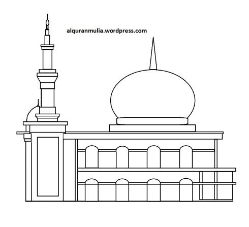 Mewarnai gambar masjid 36 anak muslim