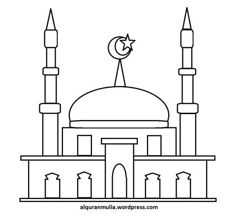 Mewarnai gambar masjid 37 anak muslim