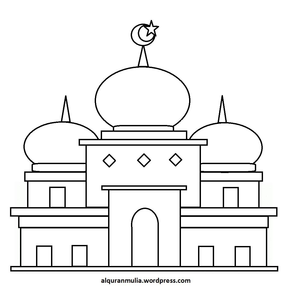 Mewarnai gambar masjid 38 anak muslim