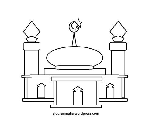 Mewarnai gambar masjid 39 anak muslim