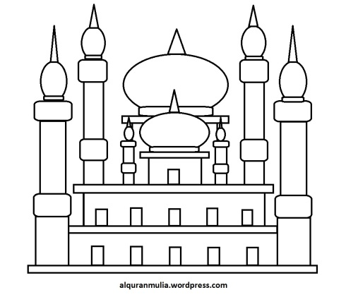 Mewarnai gambar masjid 40 anak muslim
