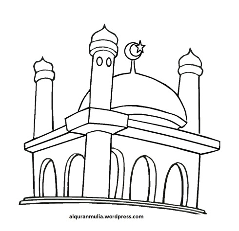 Mewarnai gambar masjid 41 anak muslim