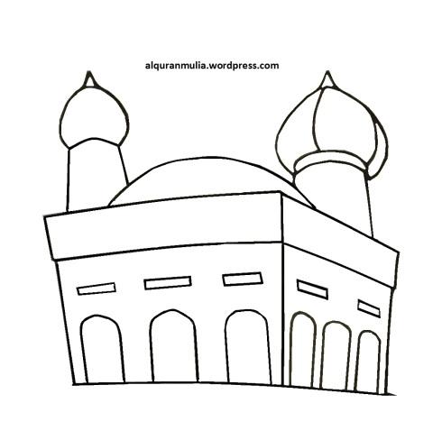 Mewarnai gambar masjid 42 anak muslim
