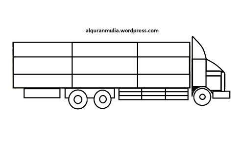 Mewarnai gambar mobil truk 7 anak muslim