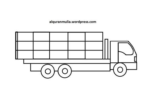 Mewarnai gambar mobil truk 8 anak muslim