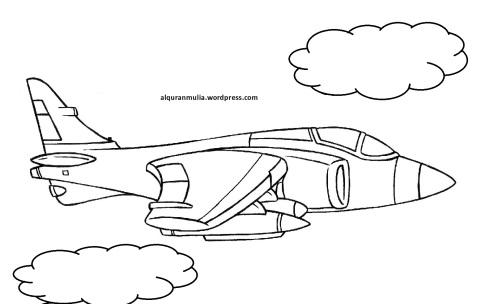 Mewarnai gambar pesawat tempur8 anak muslim