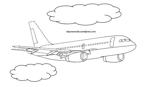 Mewarnai gambar pesawat terbang14 anak muslim