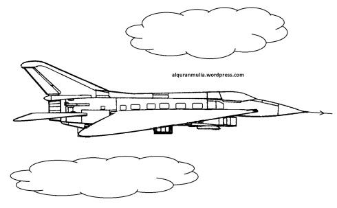 Mewarnai gambar pesawat terbang15 anak muslim