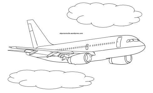 Mewarnai gambar pesawat terbang16 anak muslim