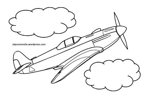 Mewarnai gambar pesawat terbang17 anak muslim