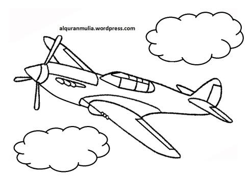 Mewarnai gambar pesawat terbang18 anak muslim