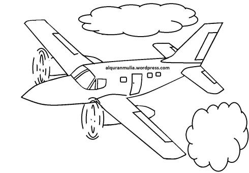 Mewarnai gambar pesawat terbang19 anak muslim