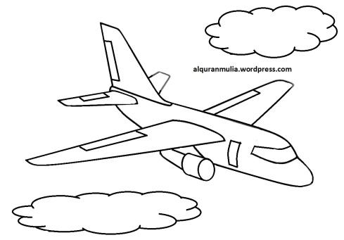 Mewarnai gambar pesawat terbang20 anak muslim