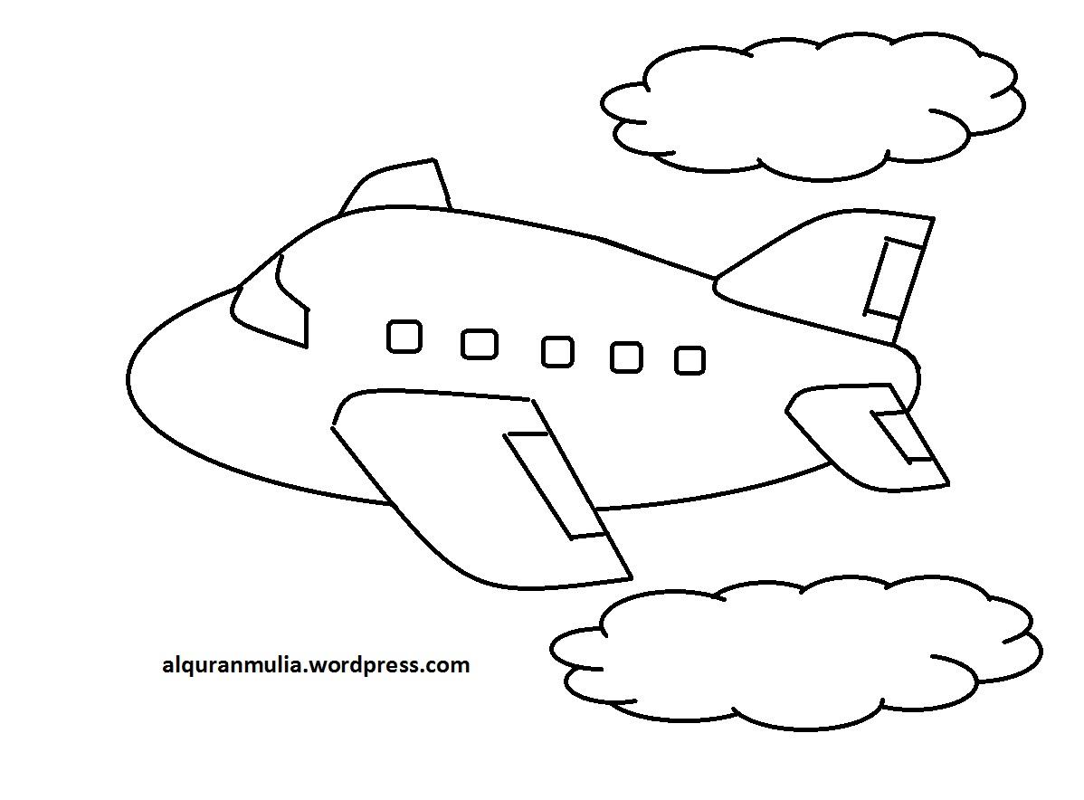 Mewarnai Gambar Pesawat Terbang 23 Anak Muslim Alqur Anmulia