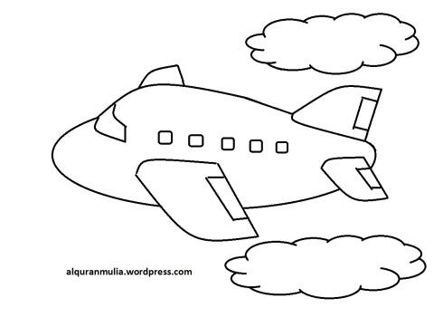 Mewarnai gambar pesawat terbang23 anak muslim